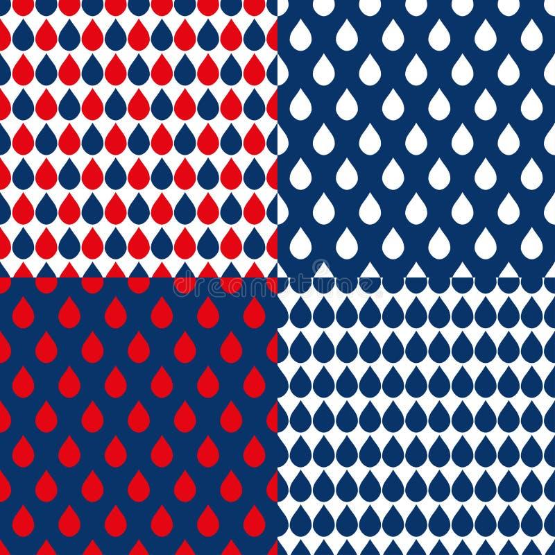 El agua roja de azules marinos cae el fondo stock de ilustración