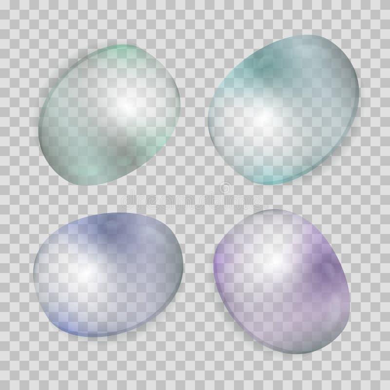 El agua transparente realista cae la colección stock de ilustración