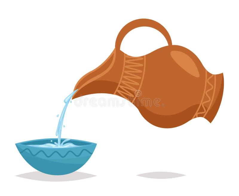 El agua vierte el ejemplo retro del vector del diseño de la vid del icono de la historieta del vintage del cuenco del jarro de la stock de ilustración
