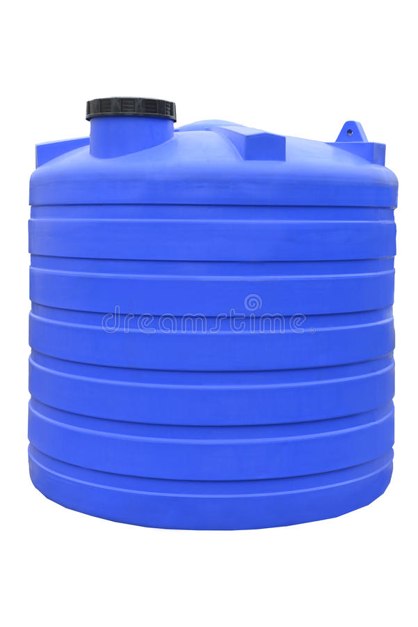 El agua y los líquidos plásticos barrel el envase industrial del almacenamiento aislado en el fondo blanco foto de archivo libre de regalías