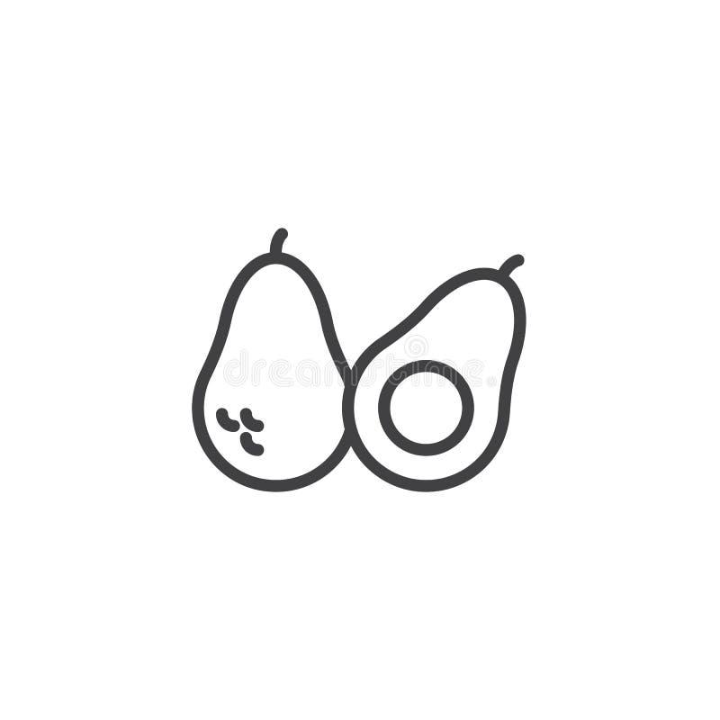 El aguacate y las mitades entero alinean el icono stock de ilustración