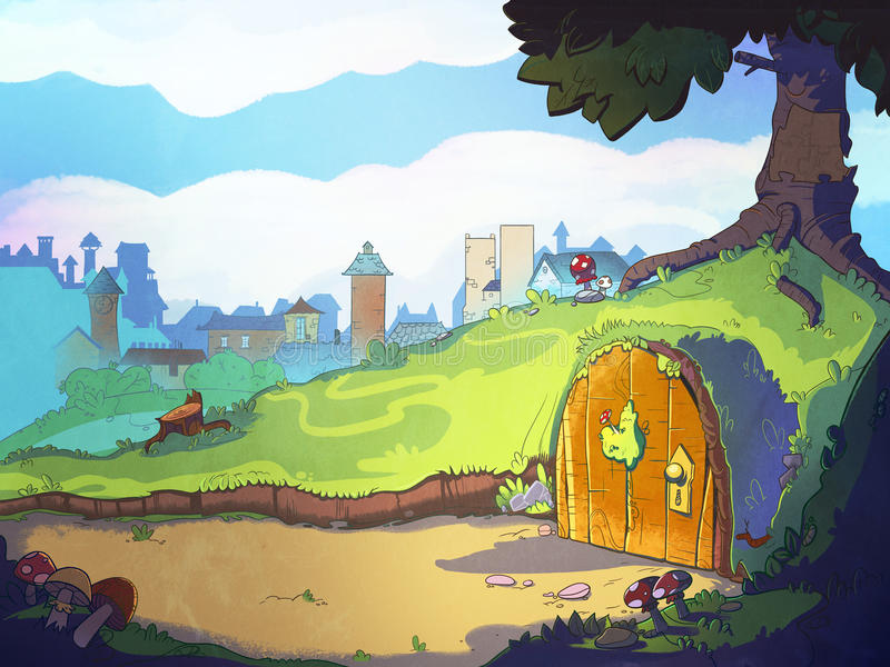 El agujero casero del conejo debajo del árbol stock de ilustración
