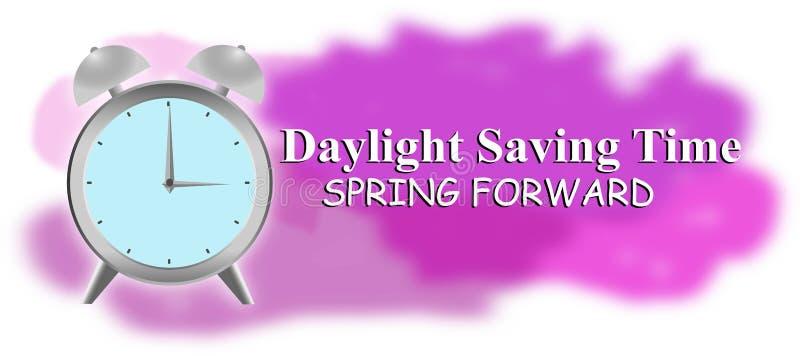 El ahorro de luz del día, salta adelante, luz del día, tiempo, ahorros, reloj, primavera, delantero, ahorrando, fondo, día, ejemp stock de ilustración