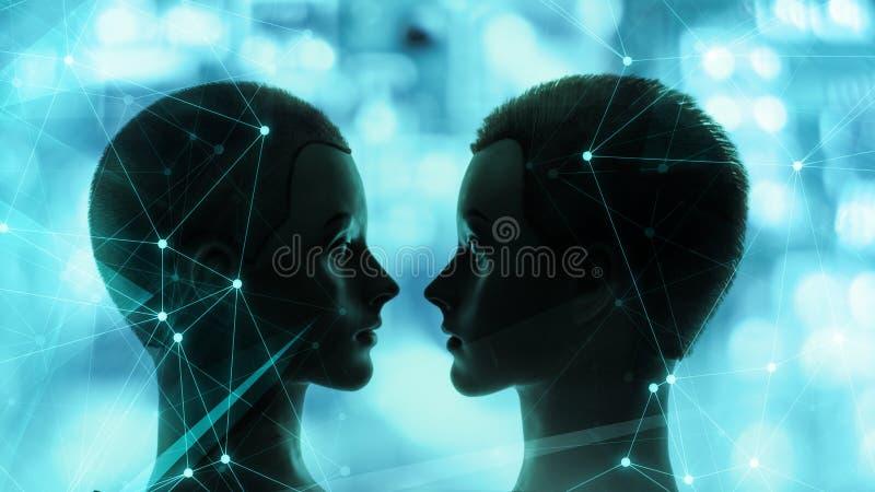 El Ai accion? tecnolog?as Sistemas inform?ticos con un aspecto humano ilustración del vector