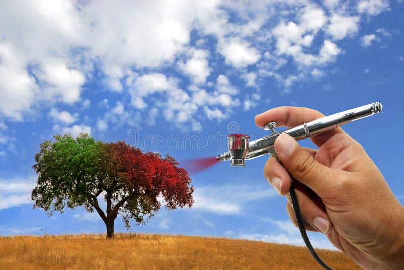 El airbrushing del árbol ilustración del vector