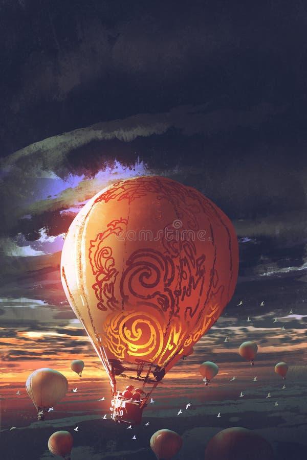 El aire caliente hincha la flotación en el cielo en la puesta del sol libre illustration