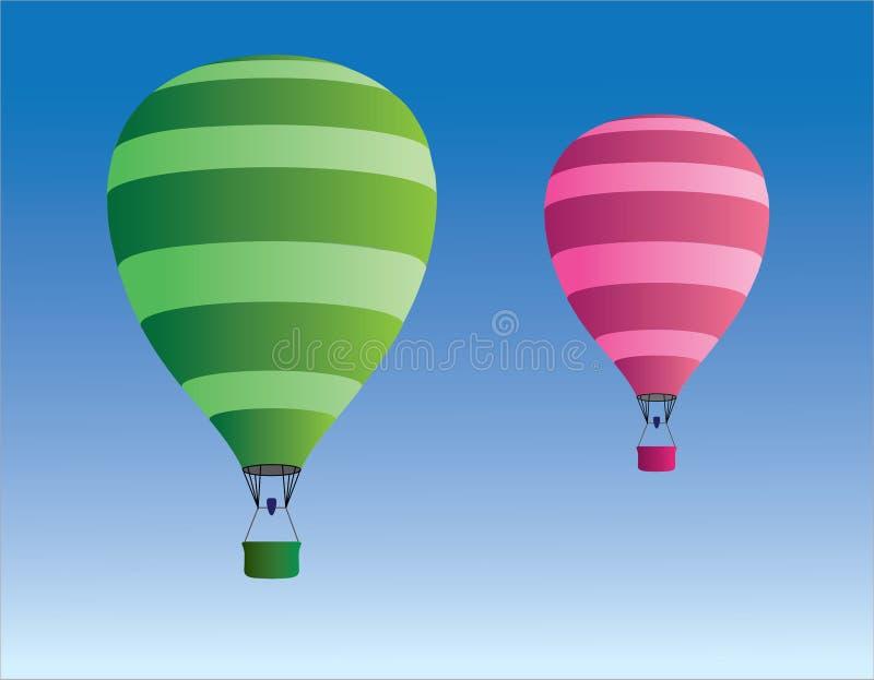 El aire caliente rayado verde y rosado fresco hincha para viajar en el cielo libre illustration