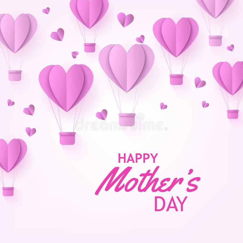 El aire caliente rosado hincha en la forma de corazones en el arte de papel en el fondo blando para la bandera del día de madres ilustración del vector