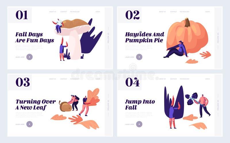 El aire libre en el sistema de Autumn Season Website Landing Page, gente escoge las hojas para arriba caidas, setas, bayas, cosec stock de ilustración