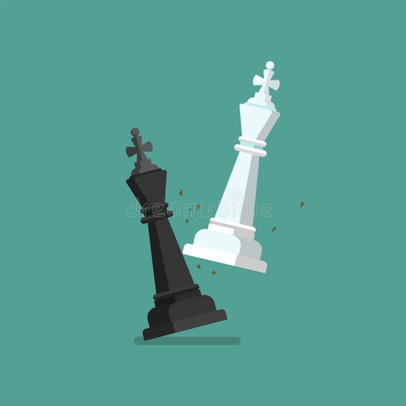 El ajedrez blanco del jaque mate derrota al rey negro ilustración del vector