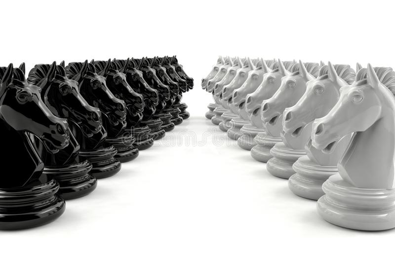 El ajedrez del caballero negro y el ajedrez del caballero blanco se enfrentan imagenes de archivo