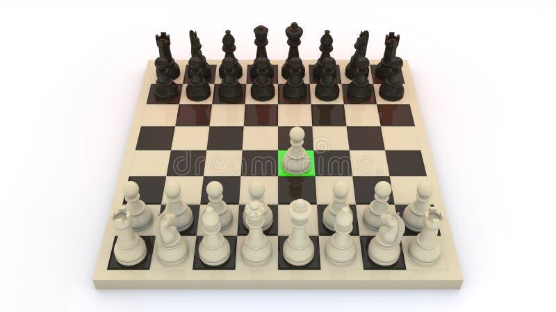 El ajedrez primero se mueve foto de archivo