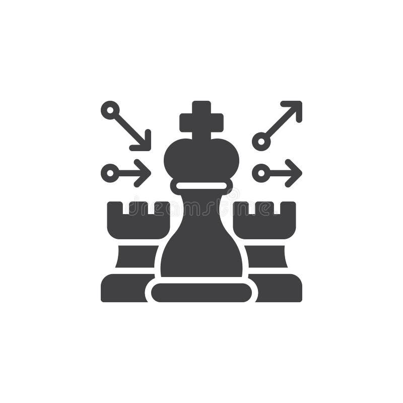 El ajedrez, vector del icono de la estrategia, llenó la muestra plana, pictograma sólido aislado en blanco stock de ilustración