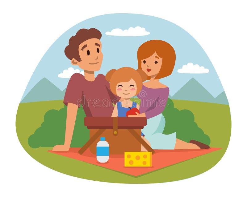 El ajuste de la comida campestre con los pares de reclinación de la barbacoa de la cesta del cesto de comida fresca y la comida d ilustración del vector