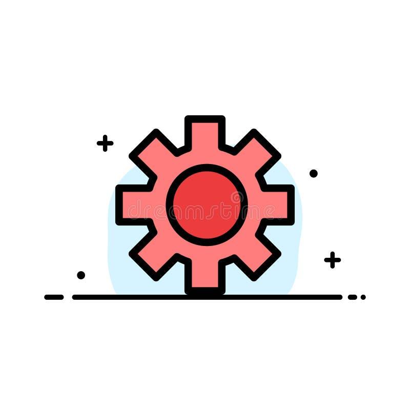 El ajuste, engranaje, línea plana del negocio logístico, global llenó la plantilla de la bandera del vector del icono libre illustration