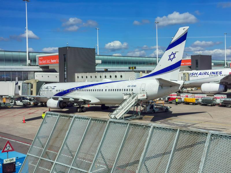 El Al Boeing 737-800. Boeing 737-800 parked at gate at Amsterdam Airport Schiphol royalty free stock photography