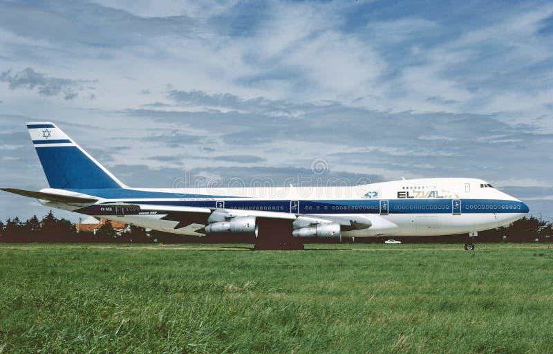 El Al Israel Airlines Boeing B-747 lands in August 1988 stock photo