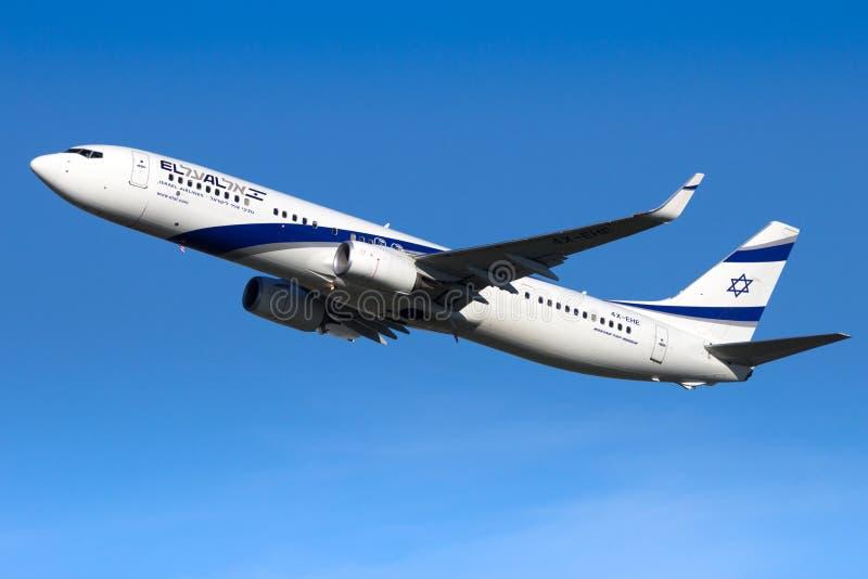 El Al Israel Airlines Boeing 737 flygplan arkivfoto