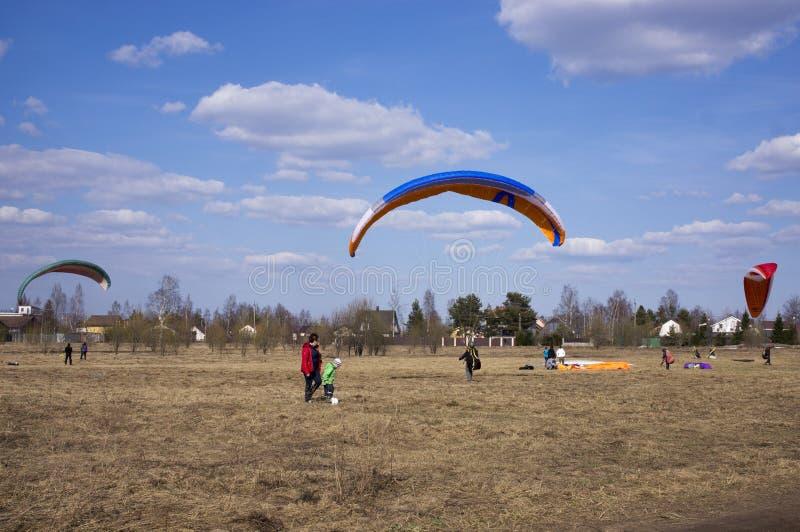 El ala flexible vuela contra el contexto de campos, tierra Visi?n desde arriba paragliding fotografía de archivo libre de regalías