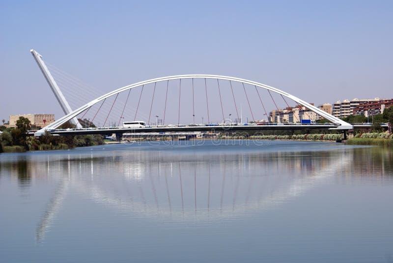 El Alamillo Bridge, Guadalquivir River, Seville, Spain. El Alamillo Bridge over The Guadalquivir River in Seville, Spain royalty free stock image