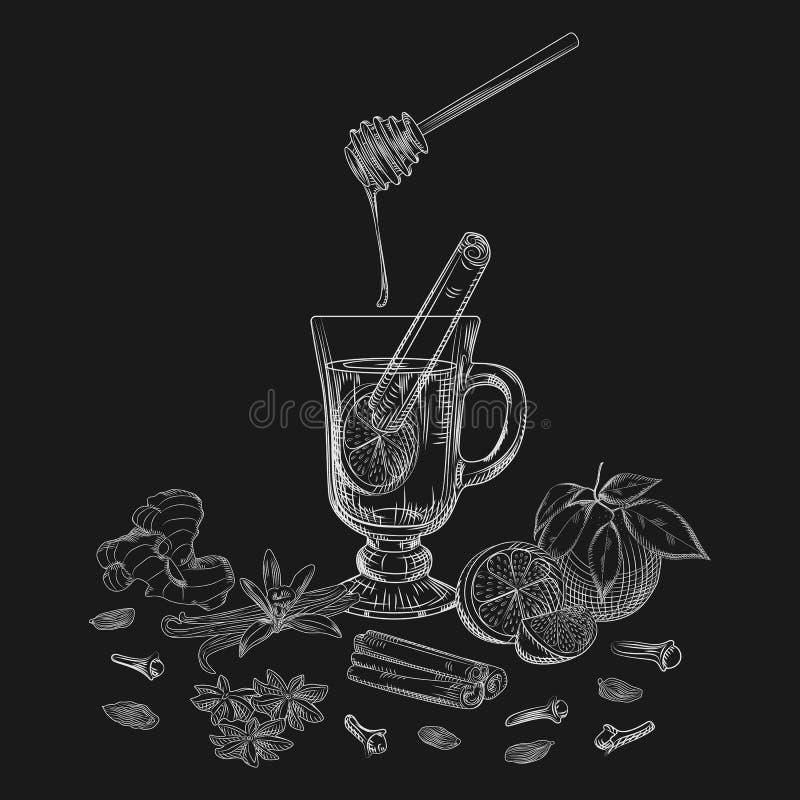 El alcohólico exhausto de la fruta cítrica de la mano no reflexionó sobre el vino y las especias en la pizarra stock de ilustración