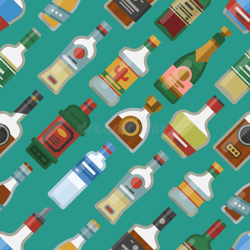 El alcohol bebe ejemplo bebido envase inconsútil del vector de los vidrios de la cerveza dorada del modelo de la botella del cóct stock de ilustración