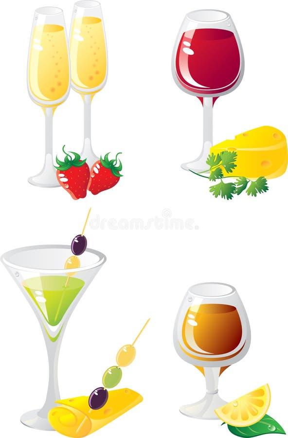 El alcohol bebe el conjunto del icono fotos de archivo libres de regalías