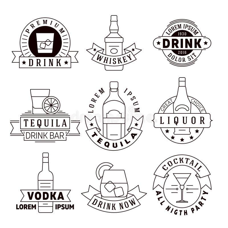 El alcohol bebe los emblemas del vector, insignias, sistema del logotipo libre illustration