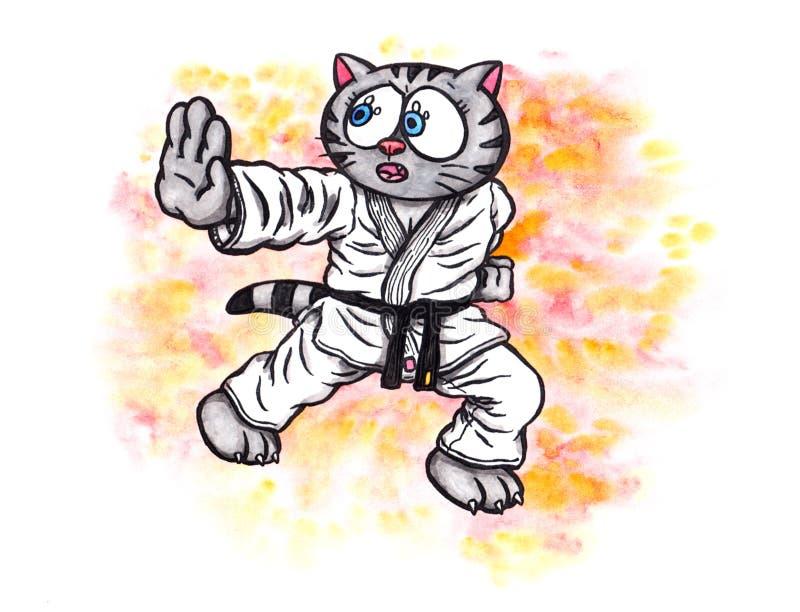 El alcohol de lucha del gatito del karate el poder de Karate-hace, 2017 stock de ilustración