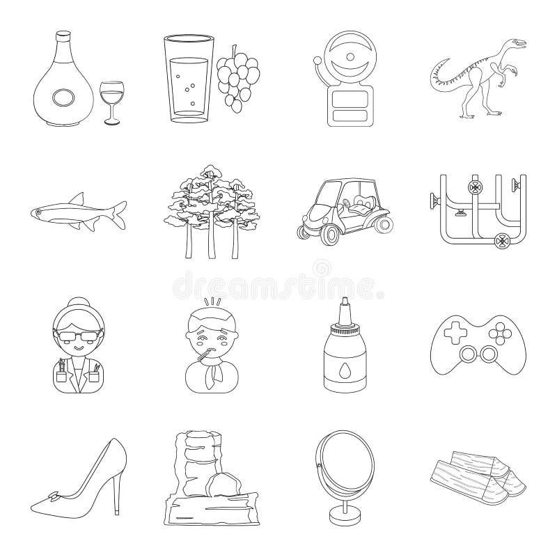 El alcohol, la educación, la medicina y el otro icono del web en estilo del esquema cocinando, maquillaje, fontanería, iconos del stock de ilustración
