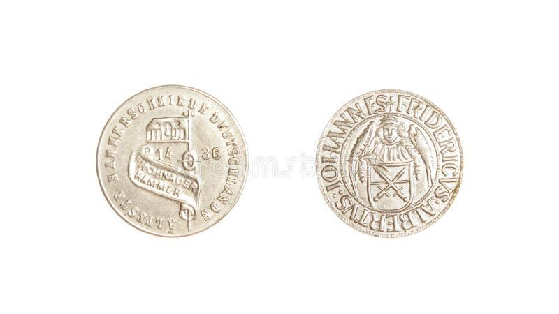 El alemán acuña fridericus aislado plata de los iohannes del vintage 1436 foto de archivo libre de regalías
