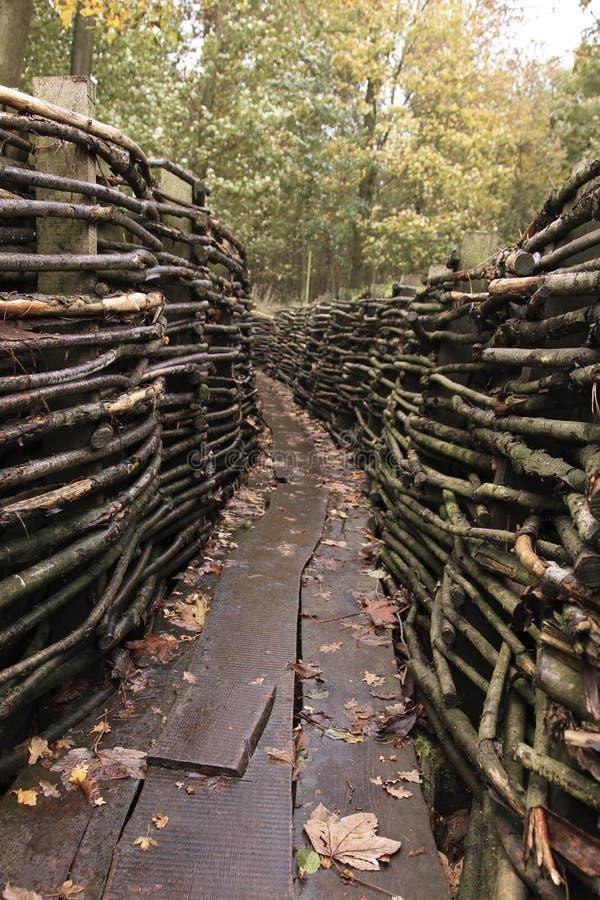 El alemán trenches WWI - Bayernwald imagen de archivo