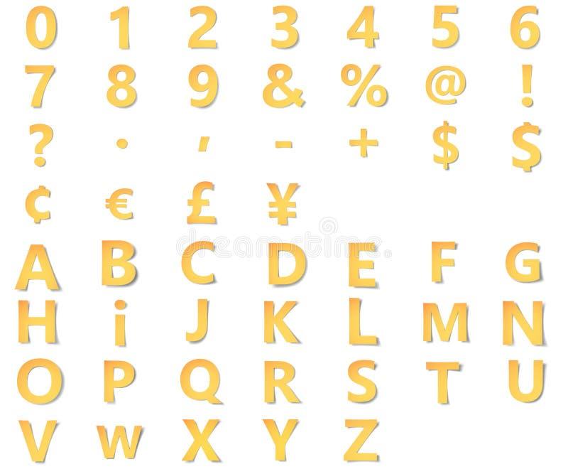 El alfabeto amarillo con números, la puntuación y los símbolos, marcas de la moneda tallaron del papel con la sombra suave papiro ilustración del vector