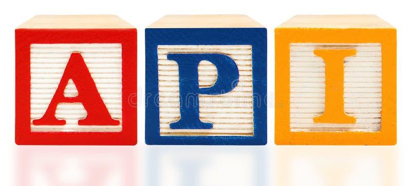 El alfabeto bloquea el índice académico API del funcionamiento foto de archivo libre de regalías