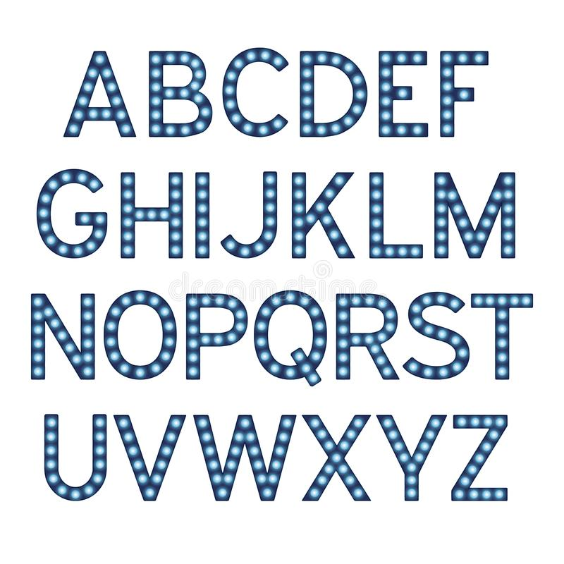 El alfabeto con las bombillas azules, letras con las lámparas, fuente de la lámpara, brillando intensamente pone letras a la imit libre illustration