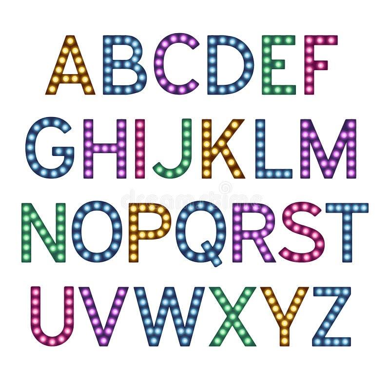 El alfabeto con las bombillas coloridas, letras con las lámparas, fuente de la lámpara, brillando intensamente pone letras a la i libre illustration