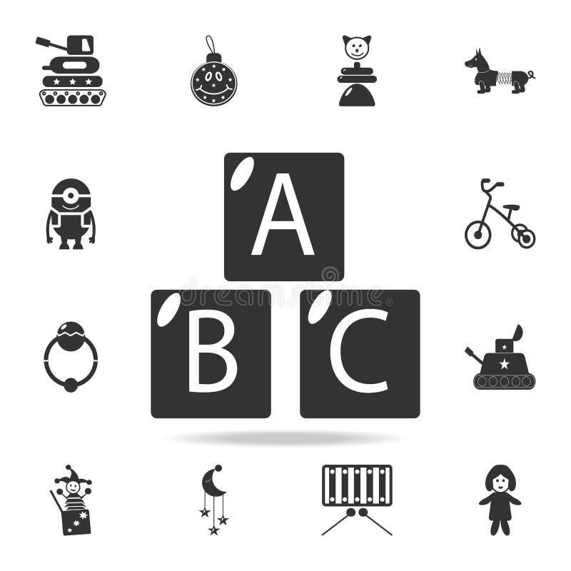 El alfabeto cubica con las letras A, B, icono de C El sistema detallado del bebé juega iconos Diseño gráfico de la calidad superi libre illustration