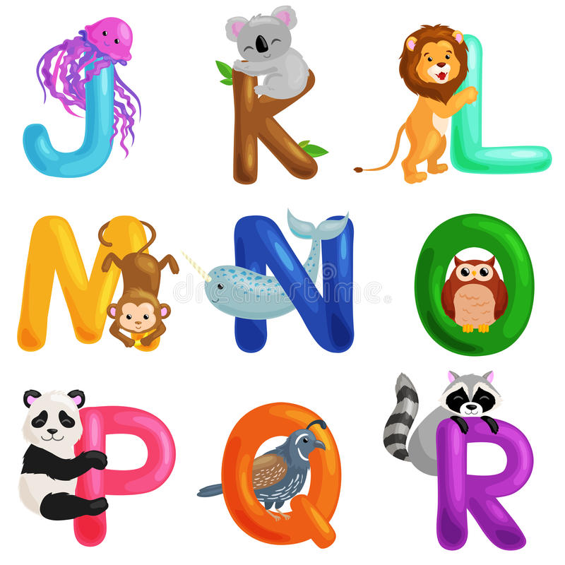 El alfabeto de los animales fijó para la educación del ABC de los niños en preescolar stock de ilustración