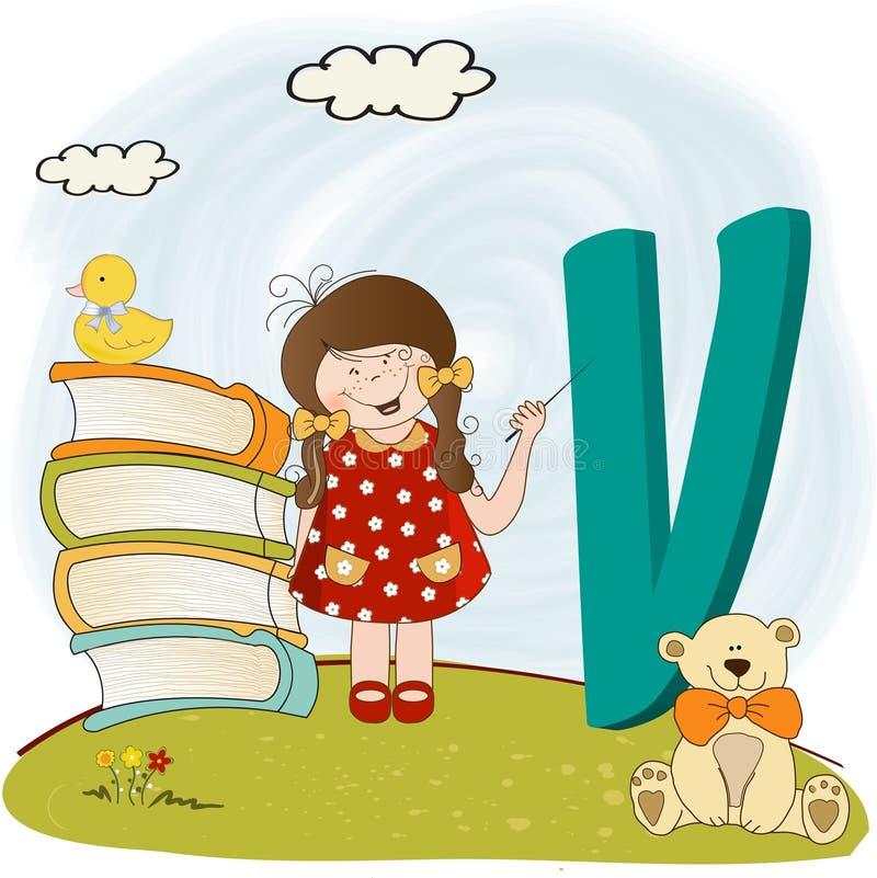 El alfabeto de los niños letra V stock de ilustración