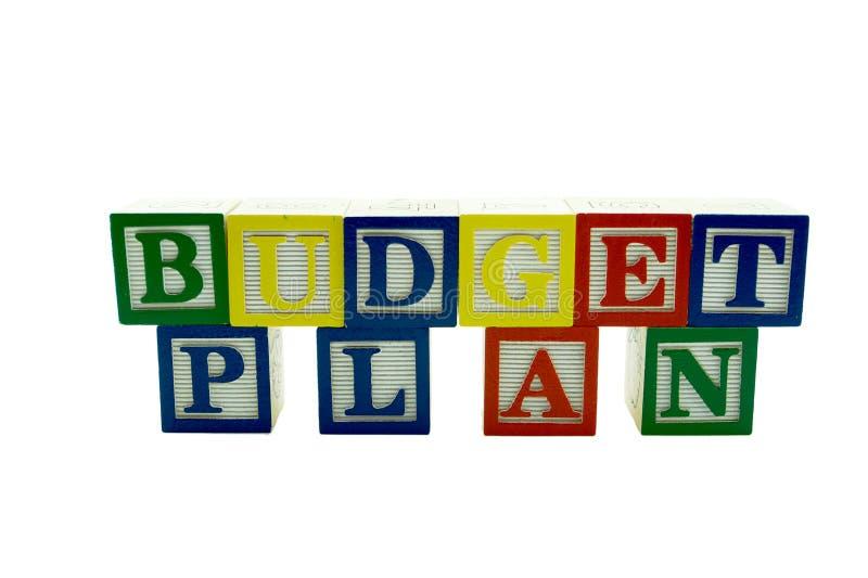 El alfabeto de madera bloquea plan del presupuesto del deletreo fotos de archivo