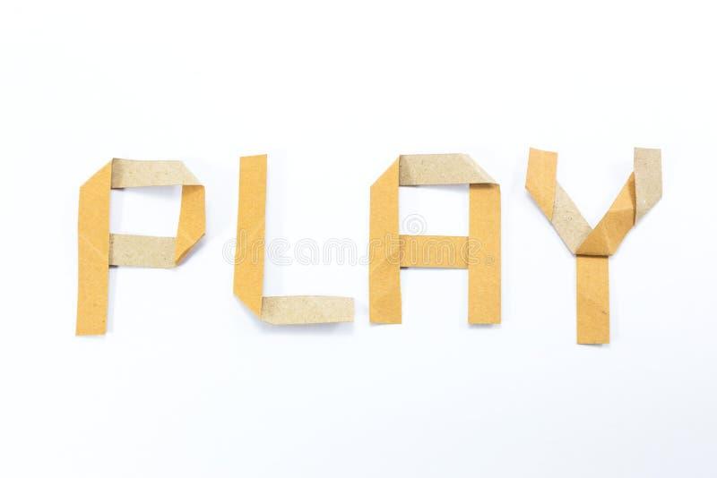 El alfabeto de Origami pone letras al palillo reciclado del arte de papel en el fondo blanco foto de archivo