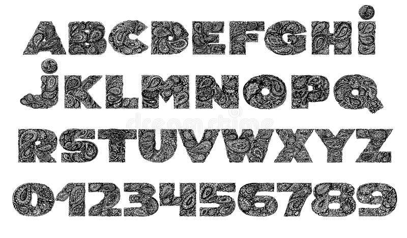 El alfabeto decorativo con un tatuaje del garabato del zen de Paisley adorna f stock de ilustración