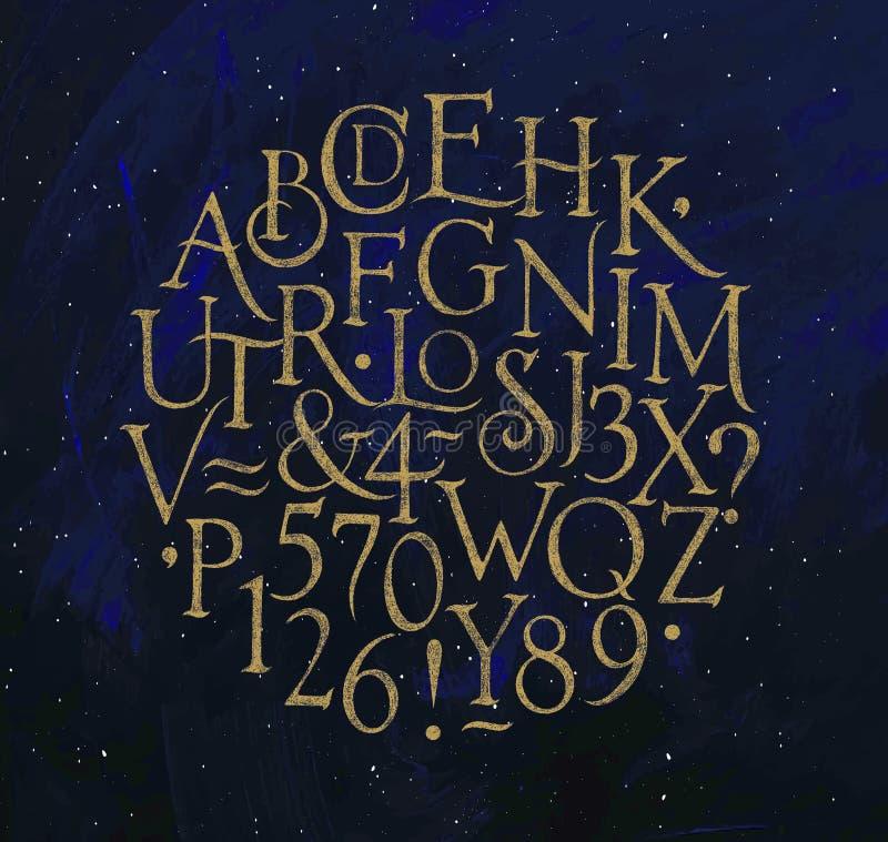 El alfabeto del vintage pone letras y numera al azul libre illustration