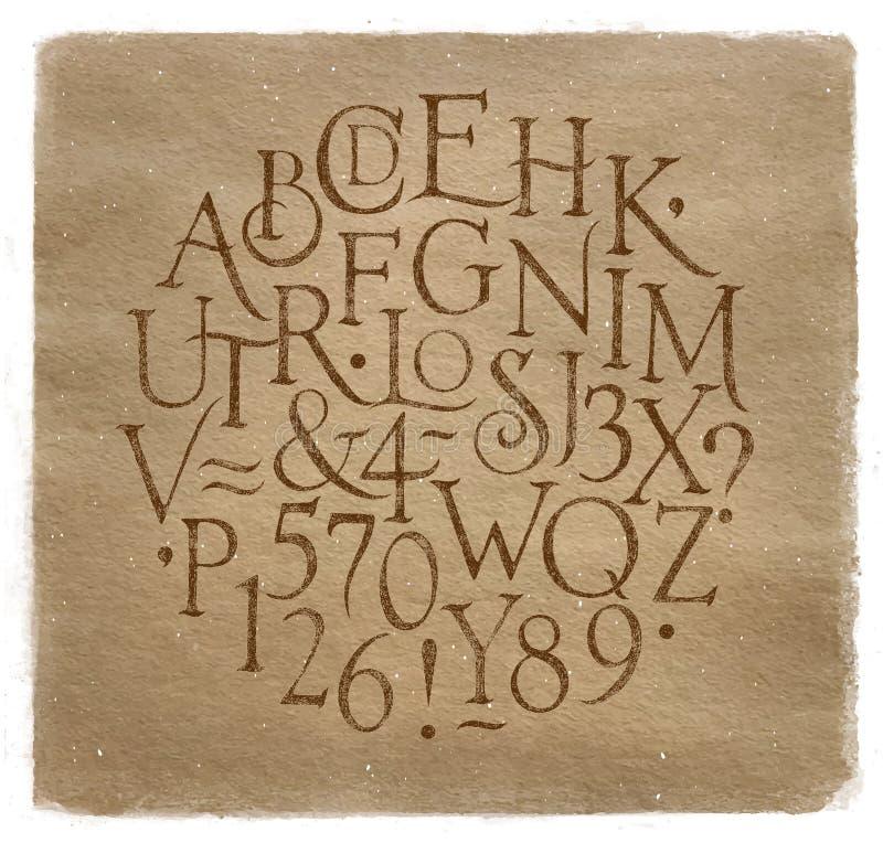 El alfabeto del vintage pone letras y numera a Kraft libre illustration
