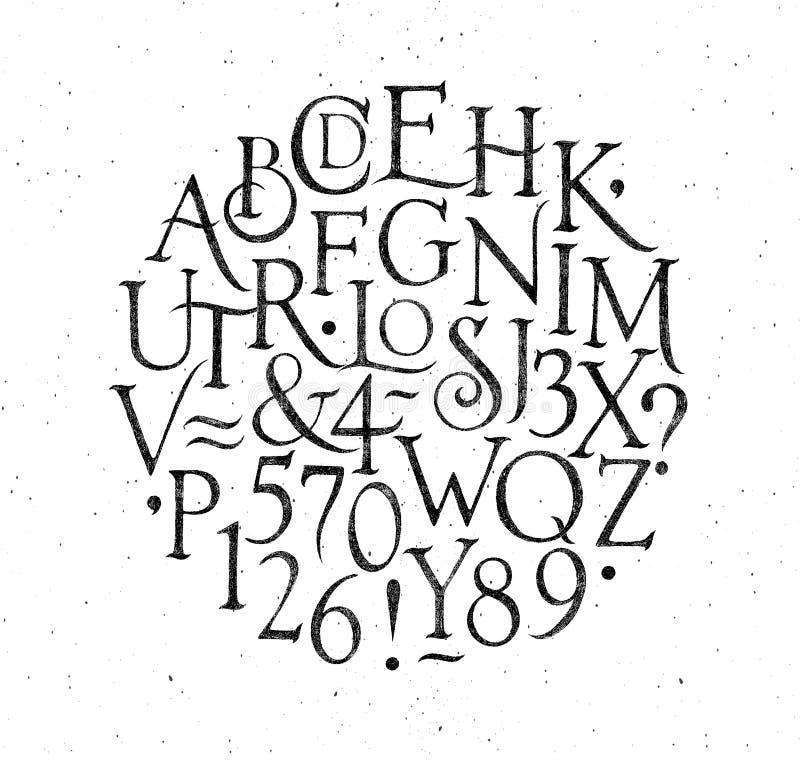 El alfabeto del vintage pone letras y numera a negro ilustración del vector