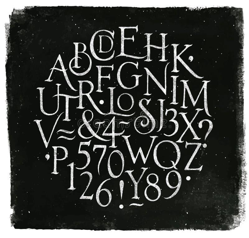 El alfabeto del vintage pone letras y numera a tiza stock de ilustración