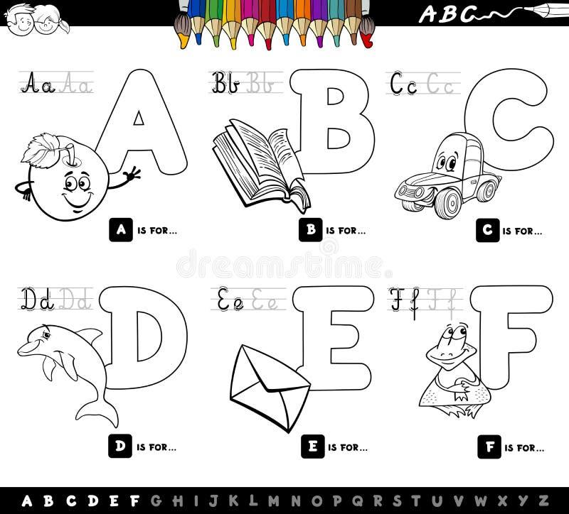 El alfabeto educativo pone letras al libro de colorear ilustración del vector