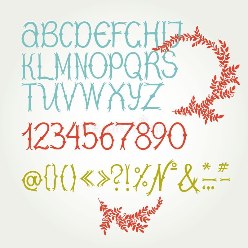 El alfabeto en caligrafía libre illustration