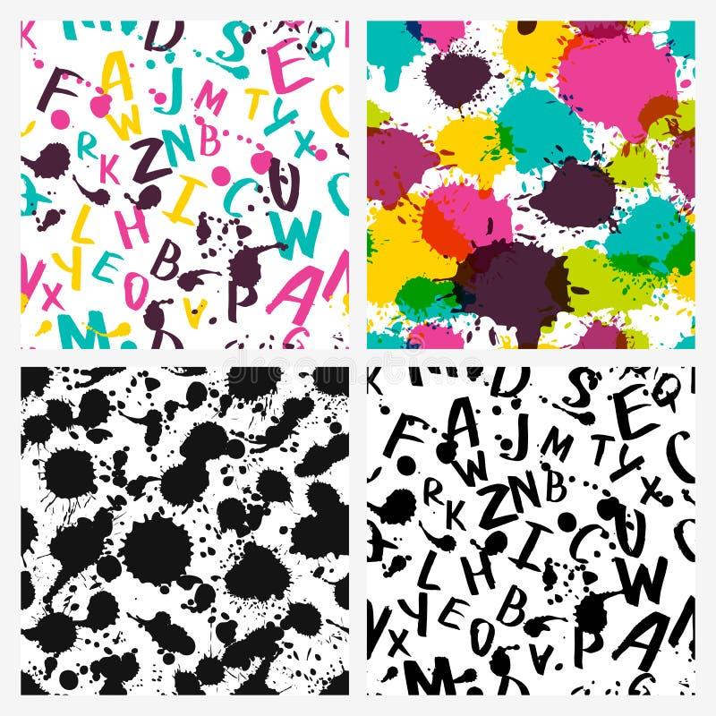 El alfabeto latino de la acuarela, salpica y mancha ilustración del vector