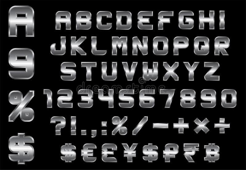 El alfabeto, los números, la moneda y los símbolos embalan - la fuente biselada rectangular del metal libre illustration